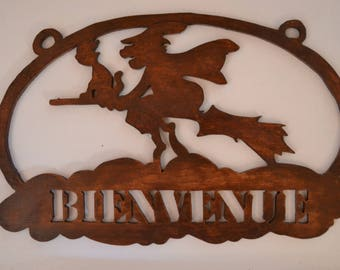 "Deco door plate ""witch"" wooden scalloped"