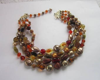 Antique Costume Japan Art Glass & Faux Pearl 4 Strand Necklace