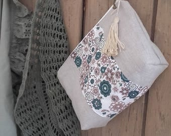 Zip pouch in linen natural and Liberty