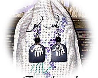 Stud Earrings (925 Silver Leverback) Gabon black ebony wood