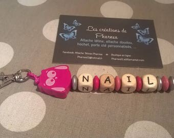 Keychain personalized with name OWL silver fuchsia