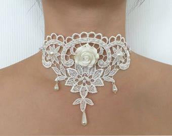 White lace Bohemian bridal necklace