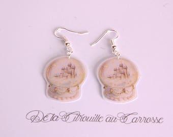 Fairytale, snow globe earrings, Castle