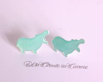 Green Hippo studs/posts