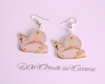 Dangle earrings Swan, Swan, dancer, snow Lake