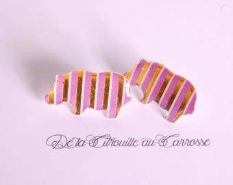 Purple and gold striped Hippo studs/posts