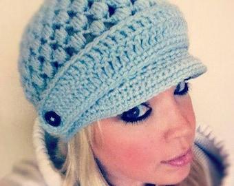 Popcorn Puff Stitch Crochet Newsboy Hat