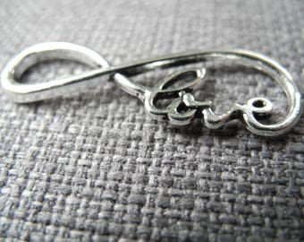 Infinity connector and Love silver metal