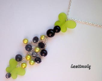 long fashion love black and lime green