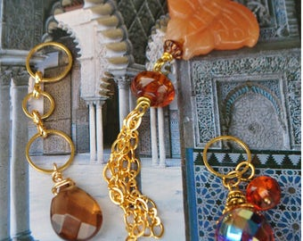 An agate Butterfly pendant with amber briolette smoky quartz and Czech glass bead