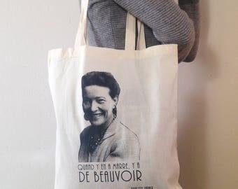 Tote Bag 100% cotton ecru - Simone de Beauvoir-