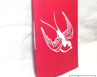 Handmade screen printed swallow book