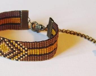 "Bracelet ""azteca"" copper - Brown background glass miyuki beads"
