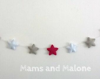 Fabric Garland stars for children and babies, gray, white, raspberry pink