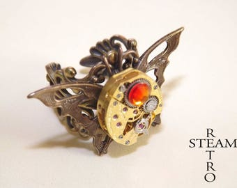 Vintage ring Butterfly Effect Steampunk Ring - blue - butterfly Ring - Steampunk - watch mechanism ring ring