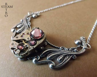 Clockwork Pendant & Antique Rose Swarovski crystals.