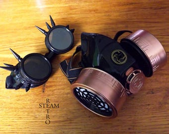 SET Cyberpunk black and copper Gasmask and functional gas mask Steampunk Zombie Fallout Wasteland mask Cosplay goggles
