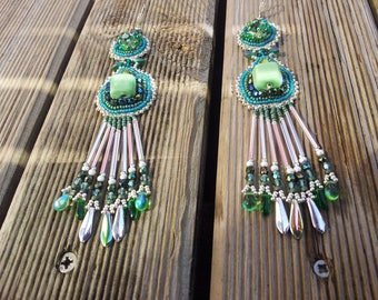 """Embroidered earrings """"diabolo mint"""""""