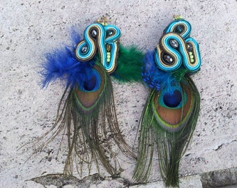 "embroidered ""Peacock feather"" earrings"