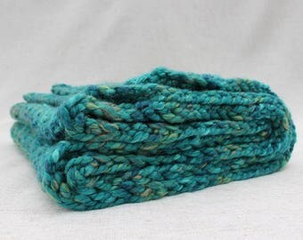 Chunky & Light Hand Knitted Scarf - Seagreen Ombre - Large