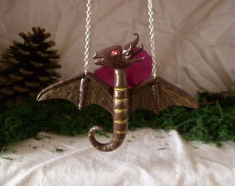 Brown and gold dragon necklace