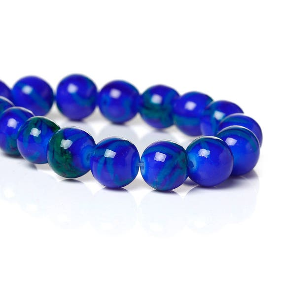Set of 5 glass beads - Blue Navy - 8 mm