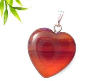 Silver plated heart pendant - carnelian