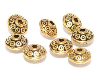 Bead spacer saucer 6mm - gold plated (10 pieces)