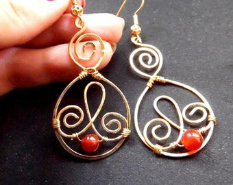 Red carnelian gemstones with 18 k gold plated earrings