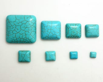 cracked turquoise semi precious gemstone 6 mm square cabochon