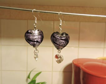 "Pair of purple Lampwork earrings, titled ""Hearts of love""."
