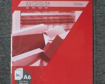 Set of 5 cards double red A6 210 x 148 mm 200 g/m² - Artoz S Line