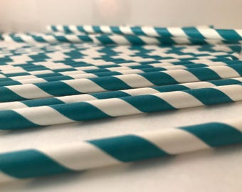 Paper Straws-Paper Straws Teal-Paper Straws Blue-paper Straws Stripes-Party Straws-Paper Straws Baby Shower