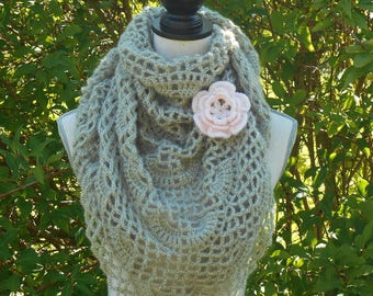 Beige crochet shawl and her blush