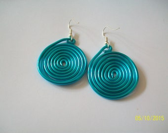 turquoise blue aluminum wire earring