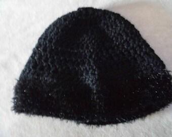 Black crochet edge shiny fur effect wool hat