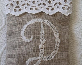 linen and lace sachet scented with Lavender