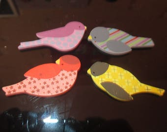 set of 4 colorful birds wooden decorations