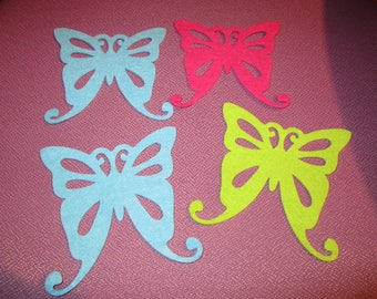 set of 4 butterflies felt colors