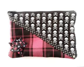 Pocket rock n roll punk skull pink jacquard, skull flower picks