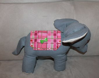 Small blue grey elephant fabric