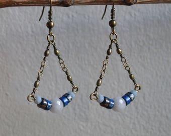 "Clips / ""Waterfall"" earrings 2 Jasper, glass and Crystal"