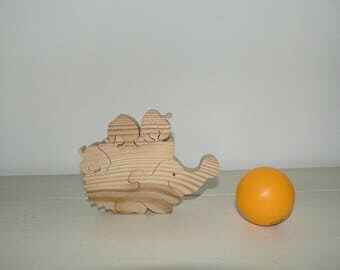 """Hedgehog and his apples"" pet puzzle cut wood."