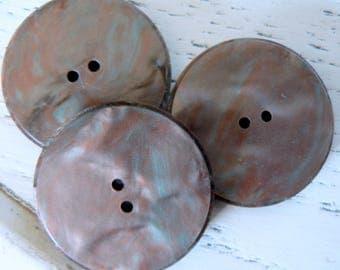 diameter 30mm flat 50-70's vintage marbled Brown button