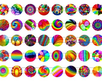 Digital images for cabochon or image transfer colorful Follies