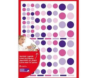 624 assortment Pink/Purple - APLI Kids - Ref 13524 round stickers