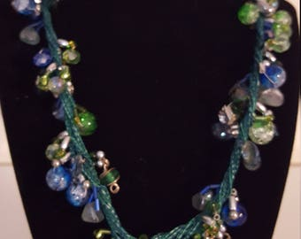 Pretty Blue and Green Beaded Necklace