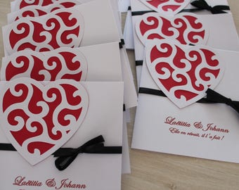 square with Ribbon & heart embossed announcements