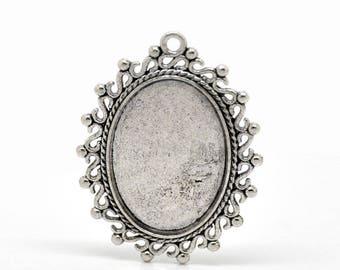 25 x 18 mm set of 25 silver cabochons pendants stick
