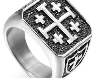 Beautiful stainless steel 10 mm wide width Jerusalem cross ring size available